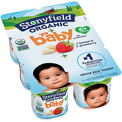Stonyfield Organic YoBaby Whole Milk Banana & Strawberry Yogurt, 6 ct