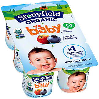 Stonyfield Organic YoBaby Blueberry and Apple, 6 ct