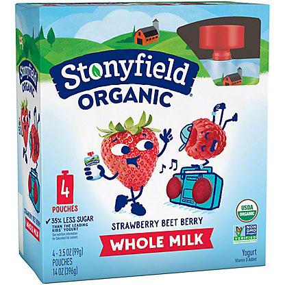 Stonyfield Organic YoTot Yogurt Pouch, Strawberry Beet Berry,4 ct