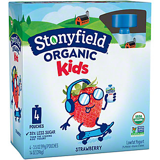 Stonyfield Organic YoKids Squeeze Strawberry Yogurt,4 ct