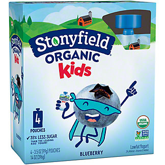Stonyfield Organic YoKids Squeeze Blueberry Yogurt Pouches,4 ct