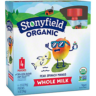 Stonyfield Organic YoToddler Yogurt Pouches, Pear Spinach Mango,4 ct