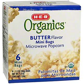 H-E-B Organics Butter Flavor Mini Bags Microwave Popcorn,6 CT