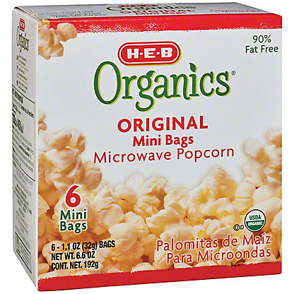 H-E-B Organics Original Mini Bags Microwave Popcorn,6 CT
