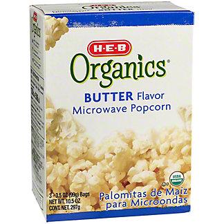 H-E-B Organics Butter Flavor Microwave Popcorn,3 CT