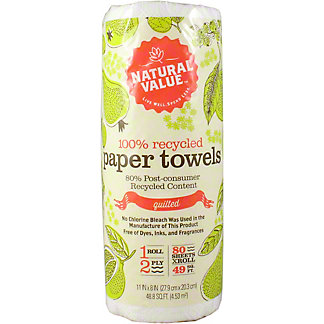Natural Value Paper Towels, 80 Sheets