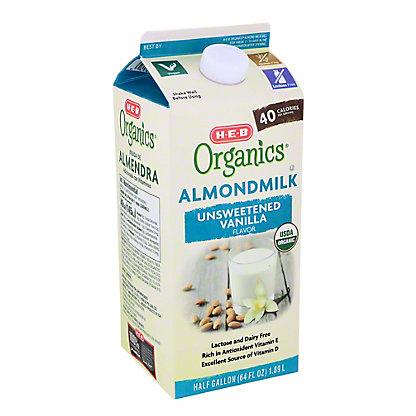 H-E-B Organics Unsweet Vanilla Almond Milk,64.00 oz