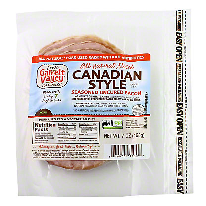 Wellshire Farms Lou's Garret Valley, Natural Uncured Canadian Bacon,7 OZ