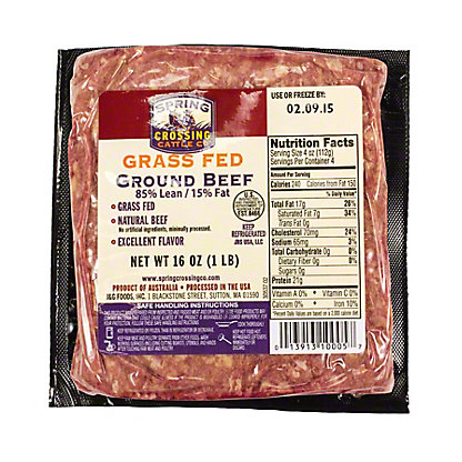 Spring Crossing Grass Fed 85% Lean Ground Beef,16 OZ