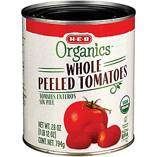 H-E-B Organics Whole Peeled Tomatoes, 28 oz
