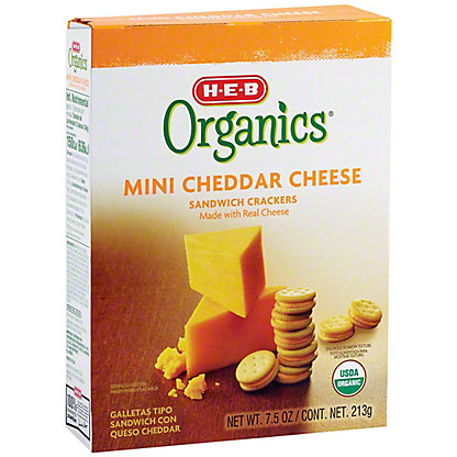 H-E-B Organics Mini Cheddar Cheese Sandwich Crackers,7.5 oz