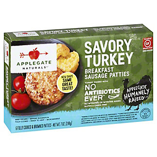 Applegate Naturals Savory Turkey Breakfast Sausage Patties,6 CT