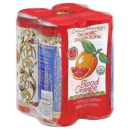 Central Market Organic Blood Orange Italian Soda 11.2 oz Cans,4 pk