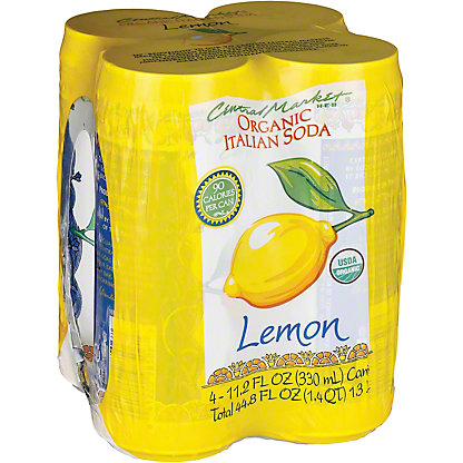 Central Market Organic Lemon Italian Soda 11.2 oz Cans, 4 pk