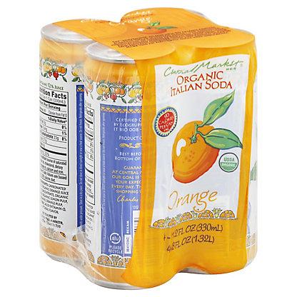 Central Market Organic Orange Italian Soda 11.2 oz Cans,4 pk