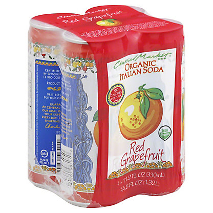 Central Market Organic Red Grapefruit Italian Soda 4,, 11.2 oz