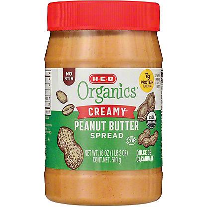H-E-B Organics Smooth No Stir Peanut Butter,18 oz