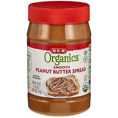 H-E-B Organics Smooth No Stir Peanut Butter,18 oz