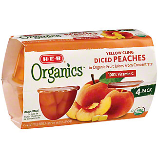H-E-B Organics Diced Peaches Cup in Organic Pear Juice from Concentrate, 4 ct