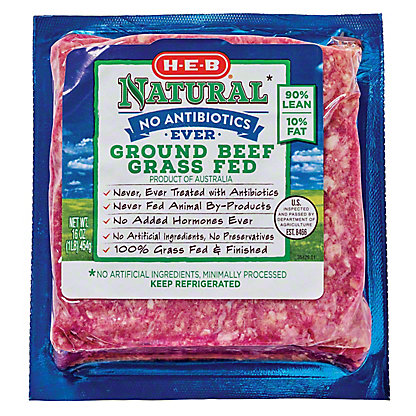 H-E-B Natural Grass Fed 90/10 Ground Beef, 16 oz
