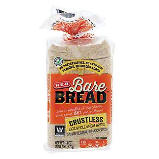 H-E-B Bare Bread Crustless Whole Wheat Bread, 13 oz