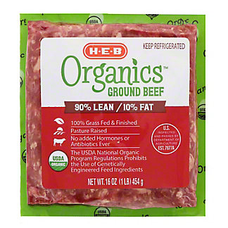 H-E-B Organics Ground Beef 90% Lean, 1 lb