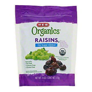 H-E-B Organics Raisins No Sugar Added, 6 oz