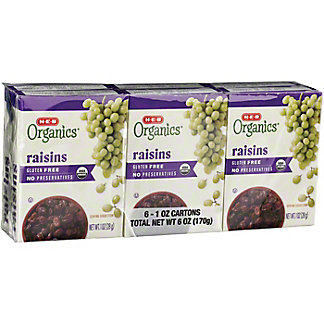 H-E-B Organics Raisins No Sugar Added, 6 ct