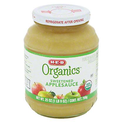 H-E-B Organics Sweetened Applesauce Jar, 25 oz