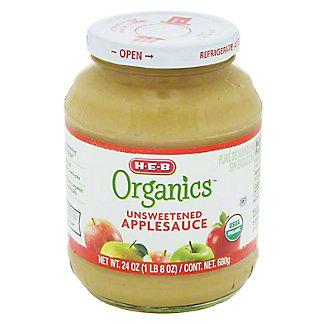 H-E-B Organics Unsweetened Applesauce Jar, 25 oz