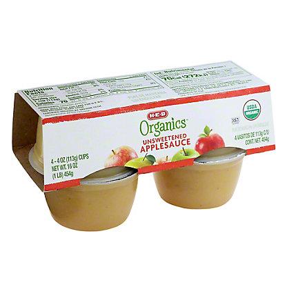 H-E-B Organics Unsweetened Applesauce Cups, 4 ct
