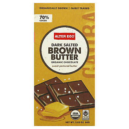 Alter Eco Dark Salted Brown Butter Chocolate Bar Candy,2.82 OZ