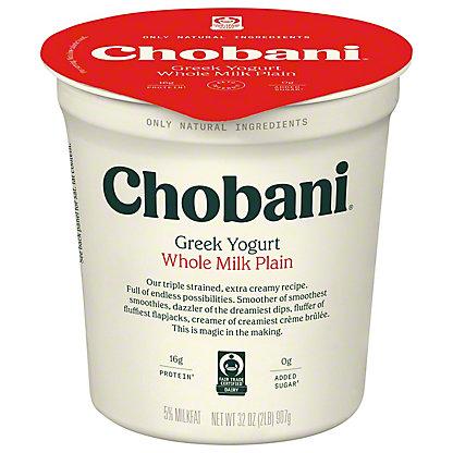 Chobani Original Plain Whole Milk Greek Yogurt, 32 oz