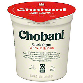 Chobani Original Plain Whole Milk Greek Yogurt, 32 oz