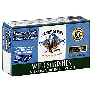 Henry & Lisas Natural Seafood Wild Sardines In Extra Virgin Olive Oil, 4.25OZ