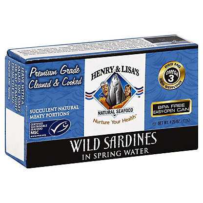 Henry & Lisas Natural Seafood Wild Sardines In Spring Water, 4.25OZ
