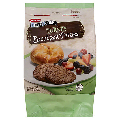 H-E-B Fully Cooked Turkey Breakfast Pattie, 21.36 oz