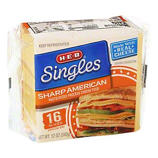 H-E-B Singles Sharp American Cheese Slices,12 OZ