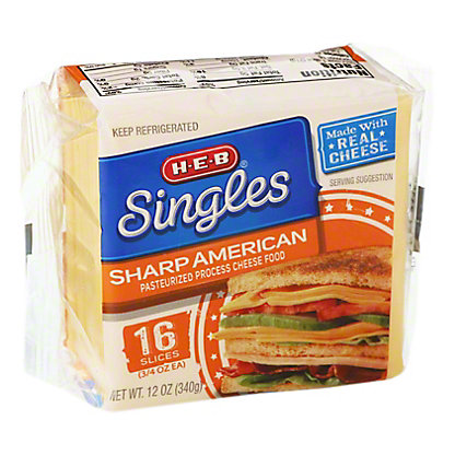 H-E-B Singles Sharp American Cheese Slices,12 OZ