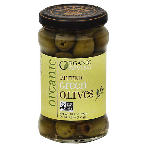 Divina Organic Pitted Green Olives, 5.3 OZ