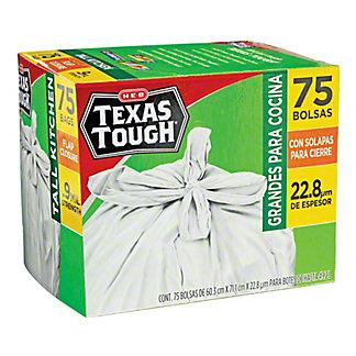 H-E-B Texas Tough Tall Kitchen Flap Closure Trash Bags, 85 ct