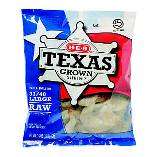 H-E-B Large Raw Texas Grown Shrimp, 31/40 Count,16 OZ