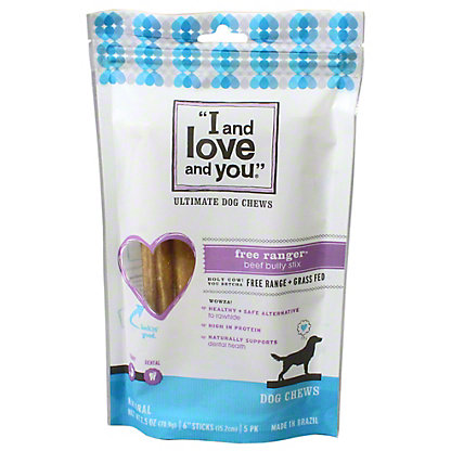 I and love and you Free Ranger Bully Stick Dog Chew, 2.5OZ