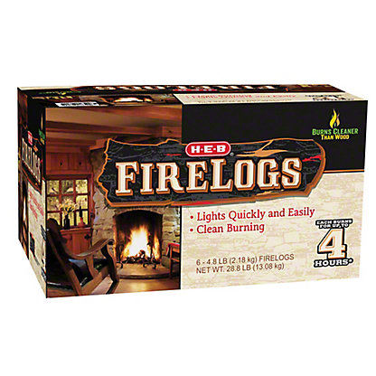 H-E-B 4 Hour Firelogs, 6 ct