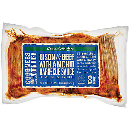 Central Market Bison & Beef with Ancho Barbeque Sauce Tamales, 24 oz.