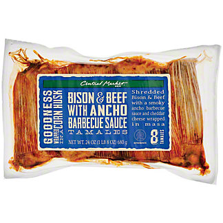 Central Market Bison & Beef with Ancho Barbeque Sauce Tamales, 8ct
