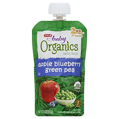 H-E-B Baby Organics Apple Blueberry Green Pea,4.00 oz