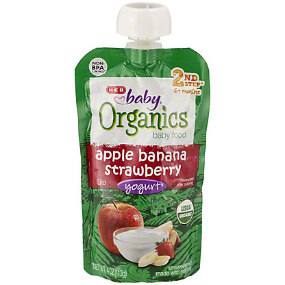 H-E-B Baby Organics Apple Banana Strawberry Yogurt,4.00 oz