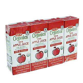 H-E-B Organics Apple Juice Box, 4 pk