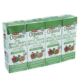 H-E-B Organics Apple Grape Orange Juice Box,4 Pk